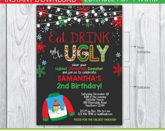 ugly sweater birthday invitation / ugly sweater party invitation / ugly sweater invitation / ugly sweater invite / christmas party invites