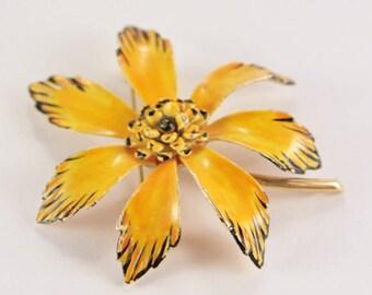 Corocraft Enamel Pin Large Yellow Black Brooch Signed Jewelry Retro Coro Pre WW2 Jewelry