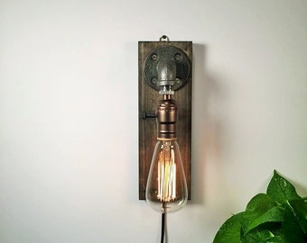 Sconce lamp-Steampunk-Country sconce-edison desk lamp-desk accessory-gift for her-light fixture-housewarming gift-bedside light-gift for him
