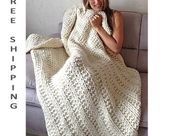 Chunky Blanket KNITTING KIT Super Bulky Thick Yarn Merino Wool Silk. #19 Circular Needles + Easy Knitting Pattern. Cape Cod by Living Dreams