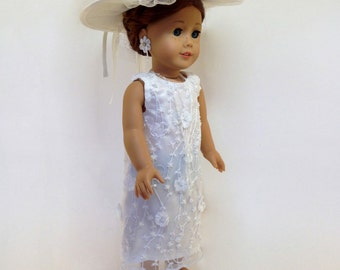"""American Girl Edwardian Wedding Dress Inspired by Downton Abbey. 4-Piece Set with Hat and Jewelry. 18"""" Doll Edwardian Wedding Dress."""