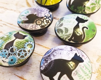 6 Black Cat Knobs, Steampunk Style Handmade Cabinet Pull Handles, Cat Dresser Knobs, Fun Pet Knobs, Gears and Leaves Design, Made To Order