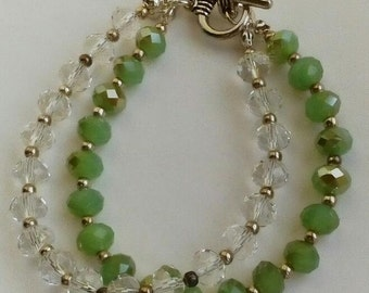 Green and clear crystal bracelet