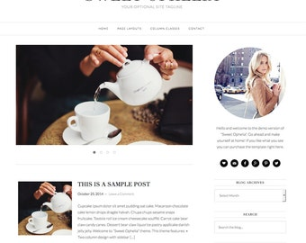 "Premade Wordpress Theme ""Ophelia"" - Responsive Self-Hosted Wordpress Blog Design"