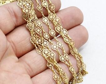 3,3 Feet 5x7mm Brass Filigree Chains, Soldered Chains, Bar Chains, EYM11