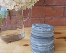 Five (5) Zinc Metal Mason Jar Lids with Milk Glass Inserts Atlas Ball
