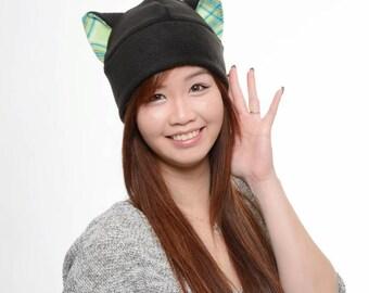 Green Plaid Cat Hat - Fleece Kitty Cat Hat - Cat Ears Hat - Black Fleece Cat Hat - Cat Toque Hat - Cat Cosplay - Cat Anime - Manga Cat Hat