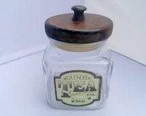 "Vintage Anchor Hocking Blended Tea Canister with Wooden Handled Lid ""Fragrant & Delicious"" 1984. Rustic Kitchen Storage / Decor Jar."