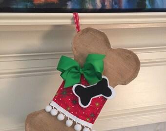Unique Dog Bone Christmas Stocking/ Burlap Dog Bone with Bow/Unique Pet Gifts/ Dog Lover