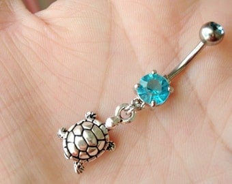 Turtle Belly Ring. Silver Belly Button Ring.