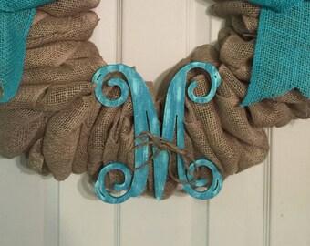 Burlap monogram wreath, bow wreath, turquoise wreath, burlap wreath, vine monogram, initial