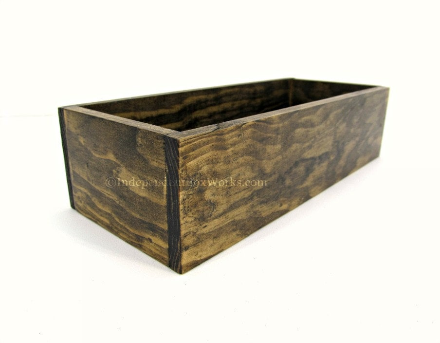 Rustic wooden centerpiece box dark walnut stained short wood