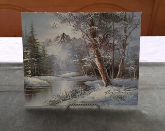 Hand Painted Artist Signed Winter Woods Snow Painting by Roger Brown on Canvas Board 8x10