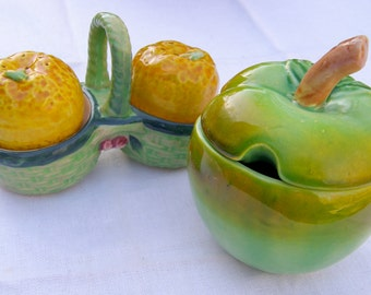 Vintage Crisp Green Apple Ceramic Condiment Dish with Lid, Asian Maker's Mark