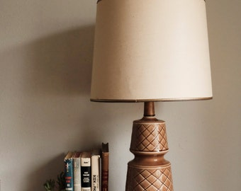 Mid Century Teak & Ceramic Table Lamp