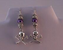 Purple gothic earrings, skull and crossbones earrings, purple pearl goth earringspirate earrings, dangle earrings, victorian style.