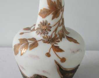 SIGNED - Harrach Flame Cameo Glass Vase