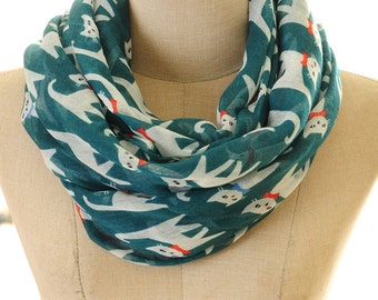 Cat Scarf | Cat Infinity Scarf | Teal Cat Scarf | Animal Scarf | Cat Lover Gift | Kitty Scarf | Cute Cat Scarf S-84