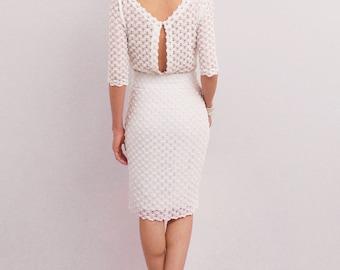 White pencil dress, elegant midi dress, medium sleeve, knee dress, boat neckline, open-back dress, casual wedding, short wedding dress