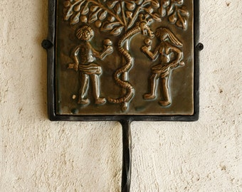 Rustic Wall Hook Ceramic Tile, Garden of Eden, Christmas Gift