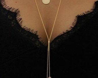 Pink Aventurine Necklace, Gemstone Necklace, Layered Necklace, Gold Necklace, Long Layering Necklace, Aventurine necklace, stone necklace