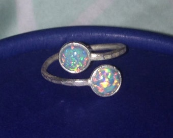 Blue/Green Opal Double Stone Ring