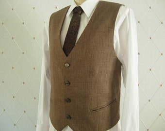 Men's Vest, Brown Vest, Wedding Vest, Men's Brown Wedding Vest, Groom Vest, Groomsmen Vest, Men's Waistcoat, Men's Suit, Businessman Vest