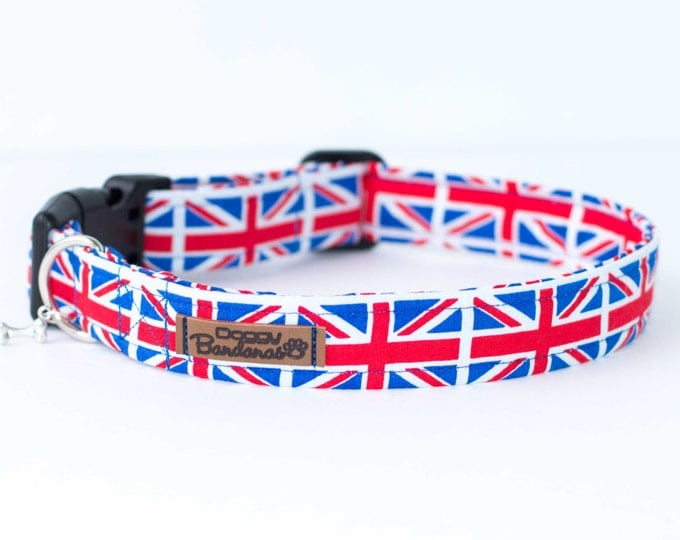 Union Jack Dog Collar Blue and Red Dog Collar Male Custom Dog Collar Boy Patriotic Dog Collar British Flag Dog Collar Holiday Puppy Collar