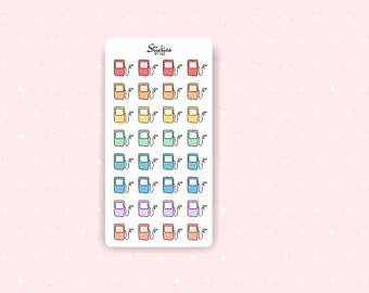 Gas Reminder Stickers / Planner Stickers / Mini Stickers / Rainbow Stickers | D7