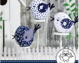 BIRDS SEWING PATTERN. bird pattern. bird pincushion. bird patchwork. pincushion pattern. pdf sewing pattern. © Blue Owl Land