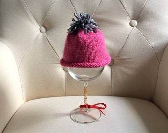 Pink and Grey Knit Baby Hat