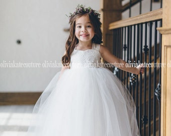 French Lace Flower Girl Dress Floor Length Ivory Off White Full