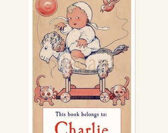 Personalized Bookplates - Baby's Toys - Adorable Vintage Baby Shower Gift, Child's First Books