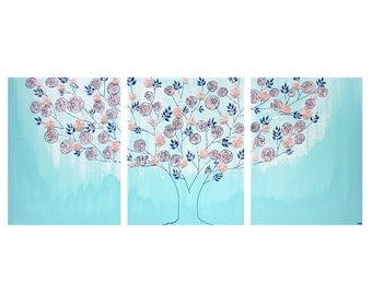 Girl Nursery Canvas Art Painting - Textured Rose Tree Triptych in Aqua and Pink - Large 50x20
