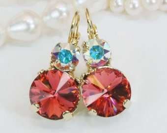 Coral Earrings Coral Swarovski Crystal Drop Earrings AB Coral Bridal Earrings Coral Wedding Bridesmaids Earrings,Padparadscha-NO.6,Gold,GE15