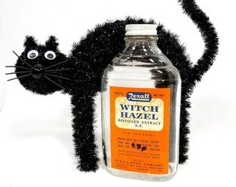 Vintage Halloween Decor | Witch Hazel Bottle | Party Prop Supply | Orange Label | Potion Apothecary Bottle | Empty Glass Bottle & Metal Cap