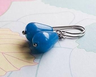 Luella blue Jade Stainless Steel Silver Earrings