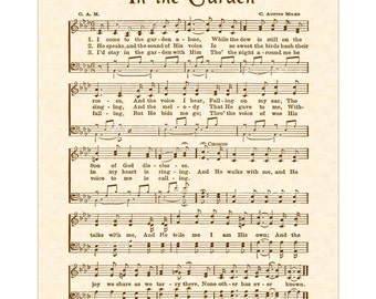 IN THE GARDEN - Hymn Art Christian Home Decor VintageVerses Sheet Music Wall Art Sepia Brown