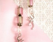 Deer Earrings Wire Wrapped spiral Rustic bead Pastel Vintage glass beads