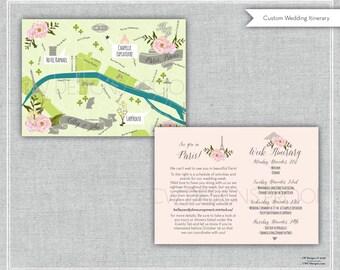 As Seen on Style Me Pretty - Custom Wedding Map Floral, Paris, France