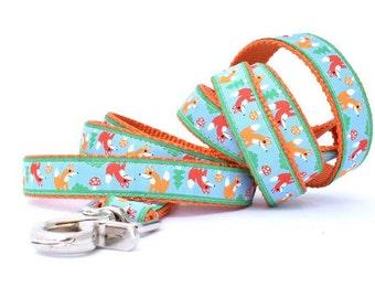 Fox Dog Leash - Fox Leash - Woodland Dog Leash - Orange Dog Leash