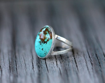 California Antique Turquoise Ring. Size 7.75 - 8. Sterling Silver. One of a kind.