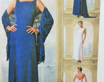 McCall's 9355 Sewing Pattern, Evening Dress Pattern, 1990s Sewing Pattern, Bust 31.5 to 34, Princess Seams, Long Dress Gown Formal Pattern