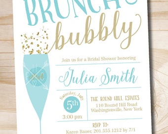 Brunch and Bubbly Bridal Shower Invitation, Confetti Glitter Bridal Shower Invitation - Printable digital file or printed invitations
