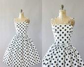 Vintage 50s Dress/ 1950s Cotton Dress/ Black & White Polka Dot Cotton Shelf Bust Dress S