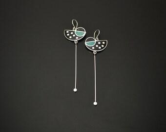 Sterling Silver Earrings, Green and Black Pendulum, Modern, Geometric Design, Contemporary Earrings