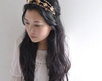 MISS Blooming Season - golden flower wedding crown, swarovski crystal hair vine
