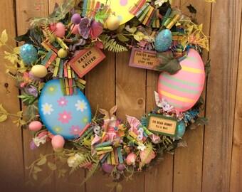 AGO Floral Wreath - Easter Bunny Metal Eggs #215/14