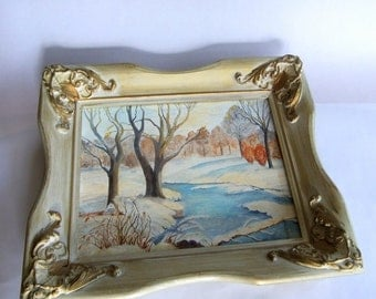Vintage Outdoor Winter Scene with Heavy Wood Frame - White Gold Plaster, Country Landscape, Trees, Stream, River Bank, Neutral Colors
