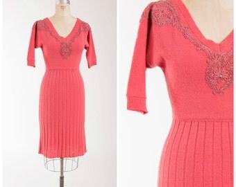 Vintage 50s Dress • Dash of Soutache  • Coral Pink Knit 1950s Sweater Dress Size Medium